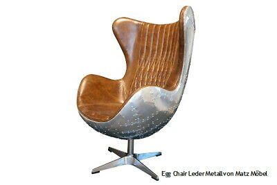 DAN, Egg Chair Leder Metall Industriedesign Braun Oder Blau, Sessel Matz  Möbel