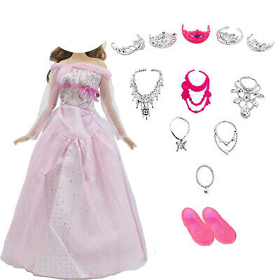 1 Pink Princess Dress 5 Crown 6 Necklace Shoes Ball Gown Clothes For Barbie Doll