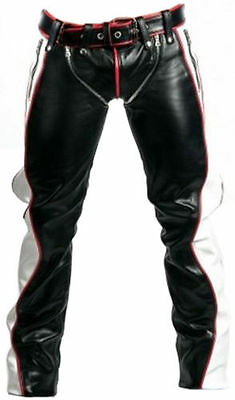 Mens Bondage Trousers Real Black Red White Leather Heavy Duty  Bluf Gay