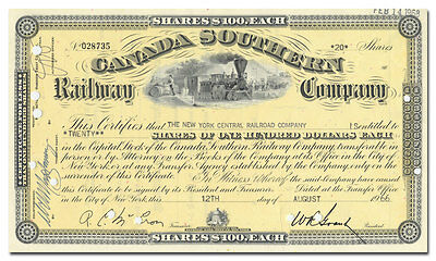 Canada Southern Railway Company Stock Certificate