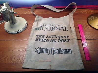 Authentic Vintage Saturday Evening Post News Paper Boy Canvas Carrier Bag As Is