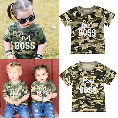 Kid Baby Boy Girls Camo Matching Tops T-shirt Romper Bodysuit Clothes Outfits HZ