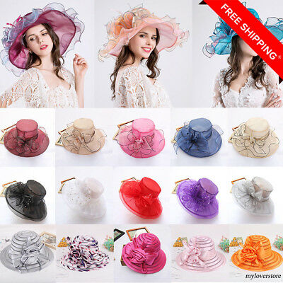 2018 Hot Womens Floppy Wide Brim Kentucky Derby Sun Hat Wedding Party Church Cap
