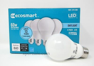 60 watt ecosmart A19 dimmable energy save star LED light bulb daylight 4 Pack
