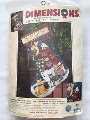 "Dimensions Snowman And Kitties Needlepoint Stocking Kit 16"" Cats"