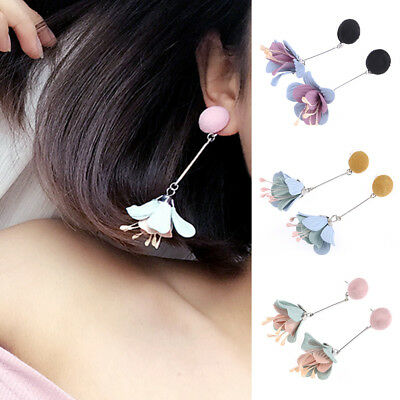 Women Fashion Jewelry Bohemian Flower Long Tassel Alloy Earrings Wedding Party