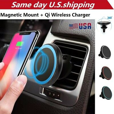 Qi Wireless Car Charger Magnetic Mount Holder For iPhone XS Max XR X Samsung S9