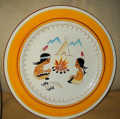 Great 1950's-1960's STANGL Pottery Kiddieware Pattern Indian Campfire Plate