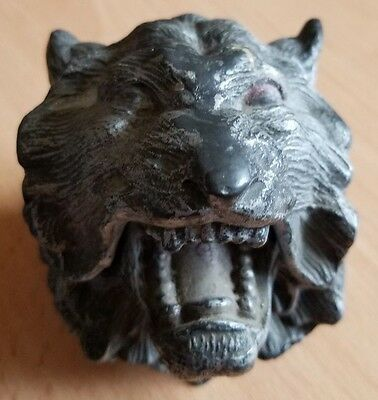 Antique Jennings Brothers Jb Inkwell 452 - Lion Head W/ Glass Insert