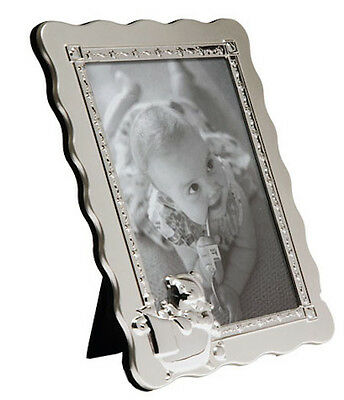 """FIRST YEAR BABY PHOTO FRAME 5x7""""PHOTO SILVER PLATED CHRISTENING GIFT NEWBORN"""