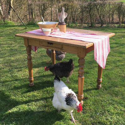Small Vintage Elm & Poplar French Extending Kitchen or Dining Table with Drawer