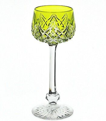 Baccarat Colbert Chartreuse Yellow Green Cased Crystal Wine Goblet SIGNED