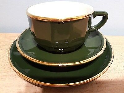 VINTAGE APILCO GREEN and Gold Coffee Cup, Saucer & Plate. Excellent ...