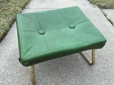 Mid Century Pearl-Wick Green Leg Lounger Adjustable Footstool Ottoman