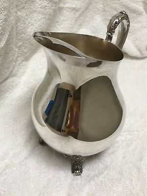 Silver Plated WM ROGERS Footed Water Pitcher With ICE GUARD