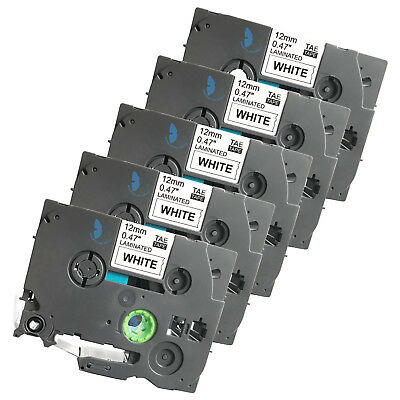 5 Compatible for Brother P-Touch TZE TZe-231 TZ 231 Label Tape - 12mm (BK+White)