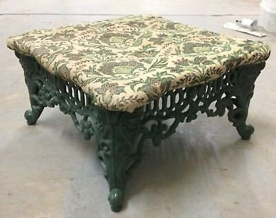"""Vintage Cast Iron Foot Stool - Antique Reproduction - 14"""" x 14"""" By 8"""" Tall"""