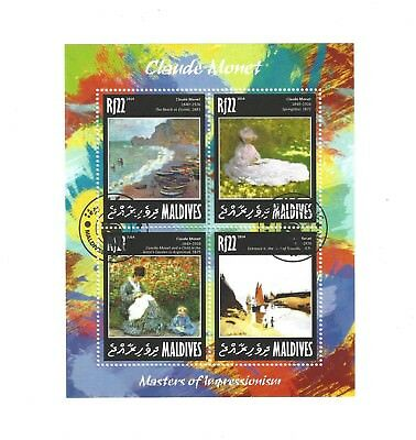 STAMP SHEET monet ART CTO Official issue Maldives