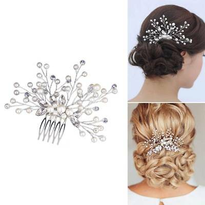 Wedding Bridal Pearl Flower Crystal Hair Pins Clip Bride Headpiece Hair Decor