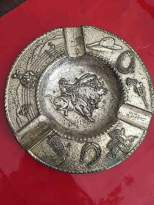 Silver Plate  Japan Cowboy Theme Ashtray ~ Prevue Products