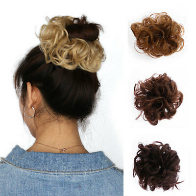 Stylish Natural Curly Messy Bun Hair Piece Scrunchie Real Thick Hair Extensions