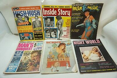 VINTAGE MAGAZINE LOT PULP STAG MAN TO MAN MANS CONQUEST HUSH 6 ISSUES 50-60s
