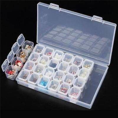 28 Empty Jars Slots Nail Art Storage Box Case Tips Jewelry Beads Containers H