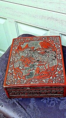 Antique Chinese Large Red Carved Cinnabar Box W/Mountains And Village Scene