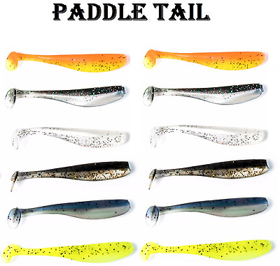 12x Soft Plastic Fishing Lures Paddle Tail 70mm Tackle Bream Trout PLASTICS