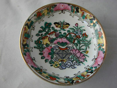 Antique Chinese Export Porcelain Plate Canton Famille Rose 4 Inch Diameter