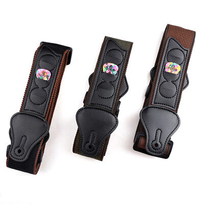 Guitar Strap Belt 3 Pick Plectrums Holders Cloth For Acoustic Bass Supplies