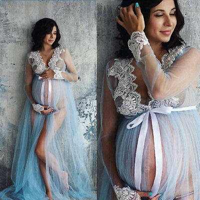 New Women Pregnant Maternity Gown Photography Props Costume Lace Long Maxi Dress