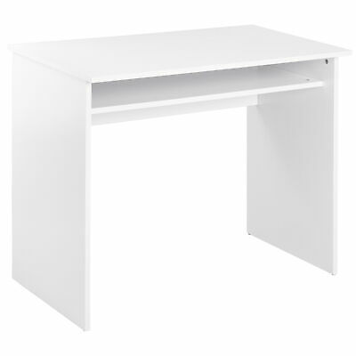 HOMCOM Wooden Computer Desk Writing Table Study Office WorkStation Storage White