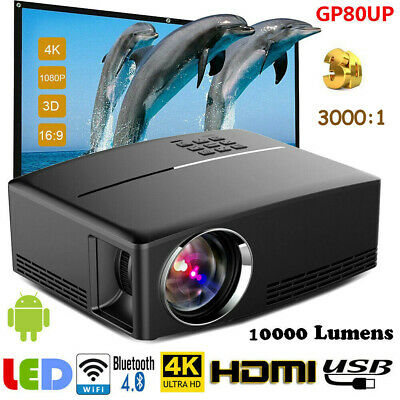 GP80UP Multimedia 4K WiFi Android Bluetooth 3D LED Projector Home Cinema 7000LM