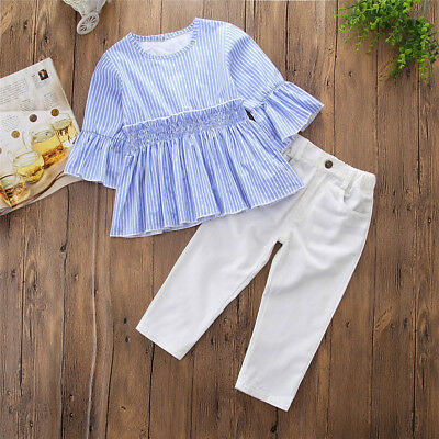 2PCS Baby Kids Girls T-shirt Tops Dress+Pants Jeans Trousers Outfits Clothes Set
