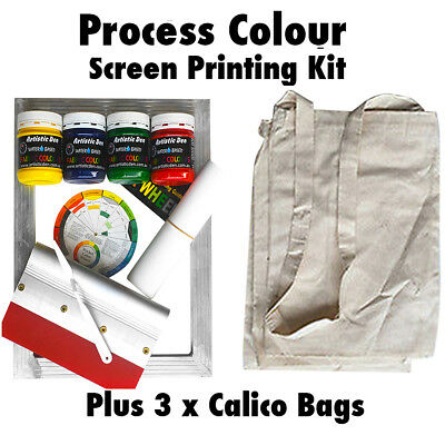 Process Screen Printing Kit Fabric Screen Print Kit + 3 Calico Bags Permaset Cmp