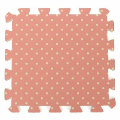 9PCS Kid Safety Play Rug EVA Foam Floor Puzzle Pad Work Gym, Pink Dots V7R2