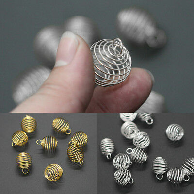 20 Pcs Gold/Silver Plated Spiral Bead Cages Pendants Findings 8x9mm