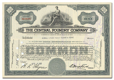 Central Foundry Company Stock Certificate