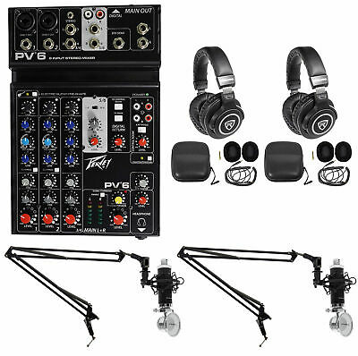 Podcasting Podcast Recording Bundle w/Peavey Mixer+(2) Headphones+(2) Mic+Booms