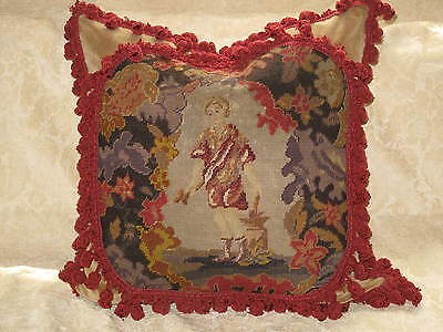 LARGE 19TH c ANTIQUE NEEDLEPOINT TAPESTRY WOOLWORK PILLOW ~FIGURAL SOLDIER