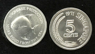 Singapore 5 Cents 1971 Fish More Food From The Sea Fao Coin