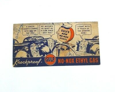 Vintage 1937 GULF Knockproof No-Nox Ethyl Gas Ink Blotter Cars Gas Pump Faces