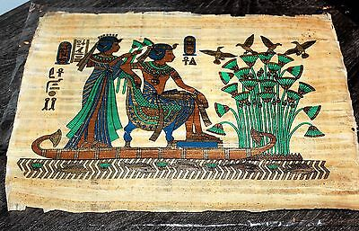 """Egytian Papyrus Hand Made 16"""" x 12"""" Ancient Art Royalty Cruising the Nile New"""