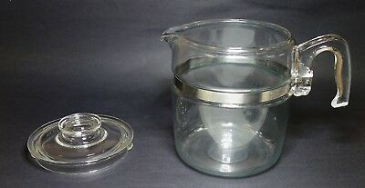 Vintage 9 Cup Pyrex Glass Coffee Pot Blue Tint & Lid Only 7759-B Flameware