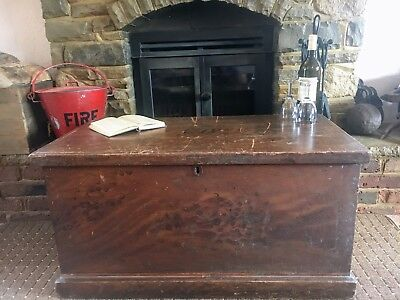Old Antique Pine Chest, Blanket Box, Vintage Wooden Storage Trunk, Coffee Table.