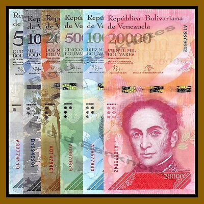 Venezuela 500 to 20000 Bolivares 6 Pcs Set, 2016/2017 P-New USED, Circulated