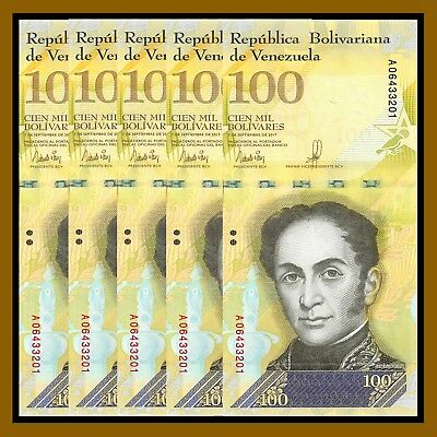 Venezuela 100000 (100,000) Bolivares x 5 Pcs, 2017 P-New Used Circulated