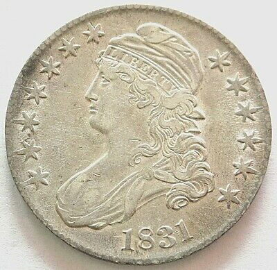 1831 Silver United States Capped Bust Half Dollar Coin About Uncirculated