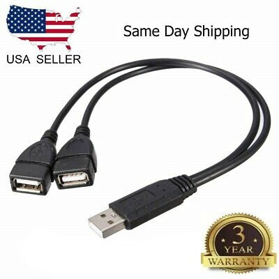 USB 2.0 Male 1-To-2 Dual USB Female Splitter Hub Cord Adapter Converter Black